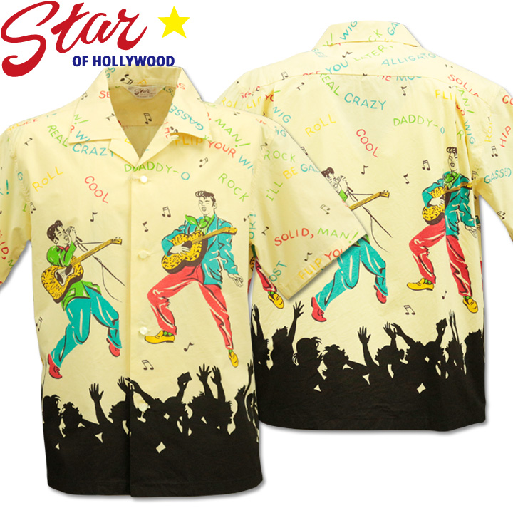 Star OF HOLLYWOOD ( スターオブハリウッド ) Open Shirt 『 KING OF ROCK'N'ROLL 』 SH38116-105 Off White