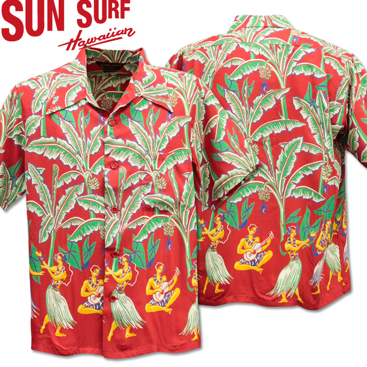 SUN SURF ( サンサーフ ) アロハシャツ HAWAIIAN SHIRT 『 SPECIAL EDITION / BANANA TREES 』  SS38202-165 Red