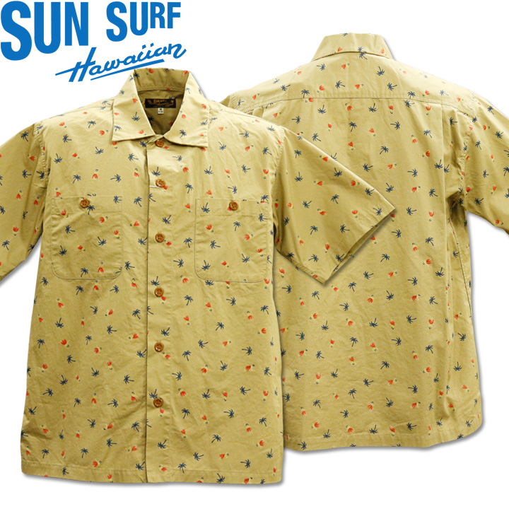 SUN SURF(サンサーフ)REGULAR COLLAR SHIRT『FULA&PALMTREE』SS38406-133 Beige