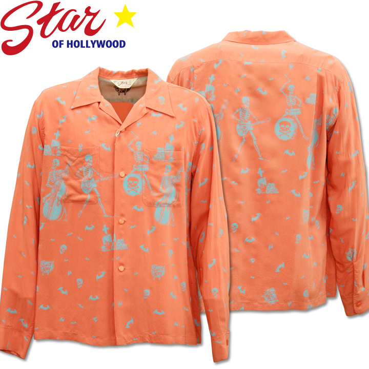 Star OF HOLLYWOOD × VINCE RAY(スターオブハリウッド×ヴィンス・レイ)Open Shirt『THE SKELETONES』L/S SH28621-162 Pink
