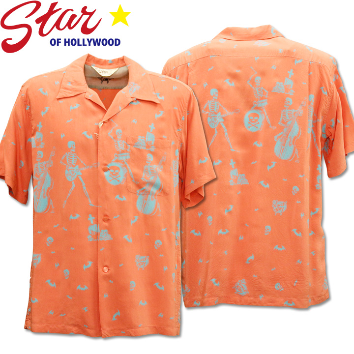 Star OF HOLLYWOOD × VINCE RAY(スターオブハリウッド×ヴィンス・レイ)Open Shirt『THE SKELETONES』SH38622-162 Pink
