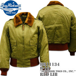 BUZZ RICKSON'S(バズリクソンズ)フライトジャケット B-10『SUPERIOR TOGS CO., INC.』red rib BR11134 OLIVE DRAB