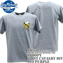 BUZZ RICKSON'S(バズリクソンズ)スヌーピーコラボTシャツ BR×PEANUTS RINGER TEE『SNOOPY FIRST CAVALRY DIV』BR77844-175 Purple