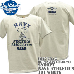 BUZZ RICKSON'S(バズリクソンズ)スヌーピーコラボTシャツ BR×PEANUTS RINGER TEE『SNOOPY NAVY ATHLETICS ASSOCIATION』BR77845-101 White