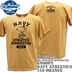 BUZZ RICKSON'S(バズリクソンズ)スヌーピーコラボTシャツ BR×PEANUTS RINGER TEE『SNOOPY NAVY ATHLETICS ASSOCIATION』BR77845-159 Orange