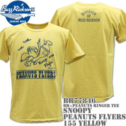 BUZZ RICKSON'S(バズリクソンズ)スヌーピーコラボTシャツ BR×PEANUTS RINGER TEE『SNOOPY PEANUTS FLYERS』BR77846-155 Yellow