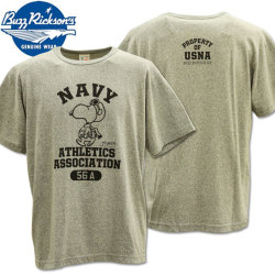 BUZZ RICKSON'S BR×PEANUTS RINGER TEE『SNOOPY NAVY ATHLETICS ASSOCIATION』BR77845-133 H.Gray