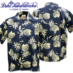 Duke Kahanamoku(デューク カハナモク)COTTON OPEN SHIRT『DUKE'S PINEAPPLE S/Sleeve』DK37811-128 Navy