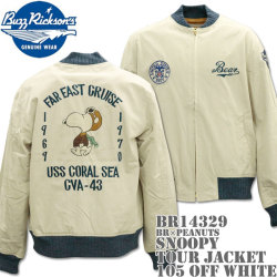 BUZZ RICKSON'S ( バズリクソンズ ) スヌーピーコラボ BR x PEANUTS 『 SNOOPY TOUR JACKET 』 BR14329-105 Off White