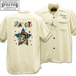 Stray Cats × Style Eyes Bowling Shirt Limited Edition SE38204-105 Off White