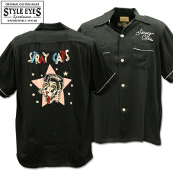 Stray Cats × Style Eyes Bowling Shirt Limited Edition SE38204-119 Black