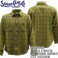 Sugar Cane ( シュガーケーン ) TWILL CHECK L/S WORK SHIRT SC27063-155 Yellow