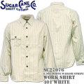 Sugar Cane(シュガーケーン)F/ROMANCE 8.5oz. White WABASH STRIPE WORK SHIRT SC27076-401 White