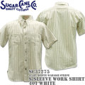 Sugar Cane ( シュガーケーン ) F/ROMANCE 8.5oz. White WABASH STRIPE WORK SHIRT S/Sleeve SC37275-401 White