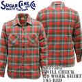 Sugar Cane ( シュガーケーン ) TWILL CHECK L/S WORK SHIRT SC27383-165 Red