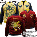 TAILOR TOYO(テーラー東洋)SOUVENIR JACKET(別珍スカジャン)『DRAGON × JAPAN MAP』TT13609-170 Wine/Gold