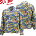 SUN SURF ( サンサーフ ) アロハシャツ HAWAIIAN SHIRT 『 LUAU 』 L/SLEEVE SS28015-125 Blue