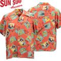 SUN SURF ( サンサーフ ) アロハシャツ HAWAIIAN SHIRT 『 KABUKI MAKE UP 』 SS38036-165 Red