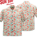 SUN SURF ( サンサーフ ) COTTON SEERSUCKER OPEN SHIRT 『 TIKI ALLOVER by Masked Marvel 』 SS38150-105 Off White