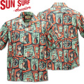 SUN SURF ( サンサーフ ) COTTON / LINEN HOPSACK OPEN SHIRT 『 ISLAND WOODCUT by Masked Marvel 』 SS38149-128 Navy