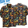 SUN SURF(サンサーフ)アロハシャツ HAWAIIAN SHIRT『TORCH FISHERMAN』SS38316-119 Black