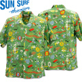 SUN SURF(サンサーフ×百大隊)アロハシャツ HAWAIIAN SHIRT『SPECIAL EDITION/ONE PUKA PUKA』SS38465-145 Green