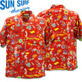 SUN SURF(サンサーフ×百大隊)アロハシャツ HAWAIIAN SHIRT『SPECIAL EDITION/ONE PUKA PUKA』SS38465-165 Red