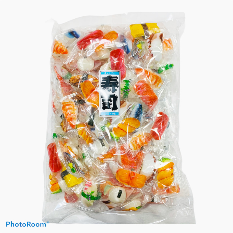 お寿司が描かれているキャンディーを並べてディスプレーにしてみませんか