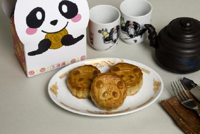 パンダ月餅3個お茶付き