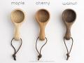 作家が作った木のコーヒーメジャーハンドル3種類