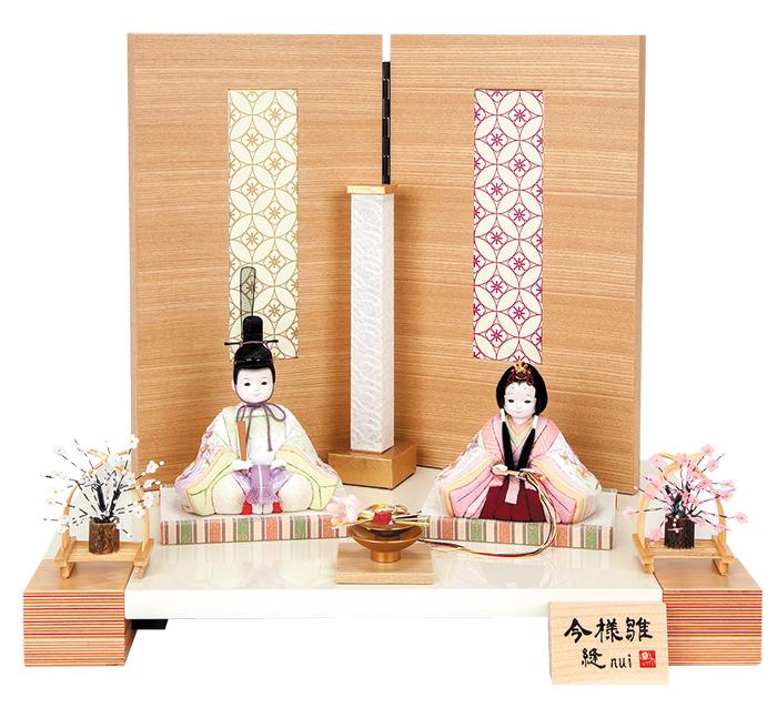 雛人形 今様雛 縫nui /木目込み親王飾り 刺繍L(お顔 ゆめ)