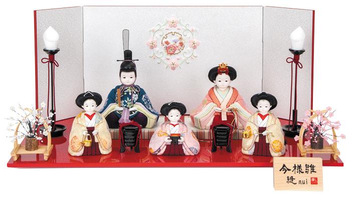 雛人形 今様雛 縫nui /木目込み親王官女5人飾り 正絹上K5 (お顔 ゆめ)
