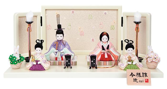 雛人形 今様雛 縫nui /木目込み親王稚児付4人飾り 正絹W4 (お顔 ゆめ)