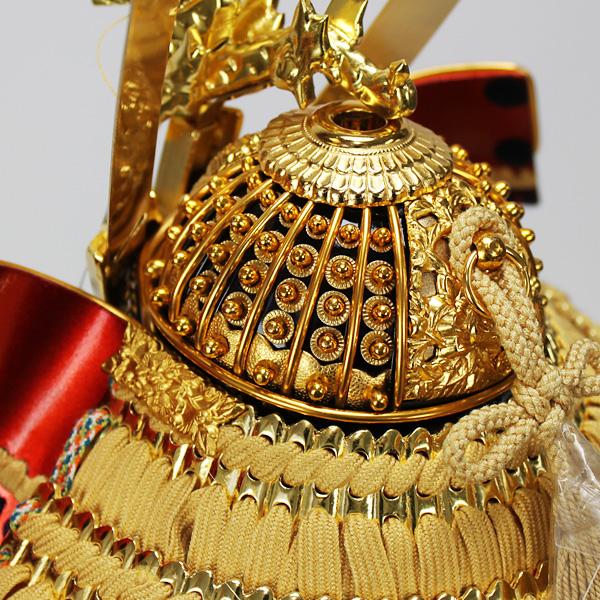 平安道齋作 8号純金箔押総裏白檀之鎧飾り/矧ぎ合せ兜鉢