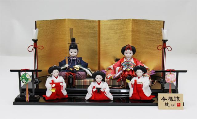 雛人形 今様雛 縫nui /衣裳着5人飾りD(お顔 さや)