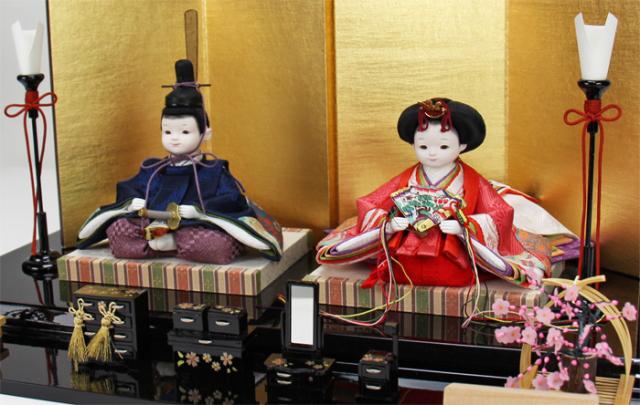 雛人形 今様雛 縫nui /衣裳着親王飾り パッチワークORG(お顔 ゆめ)