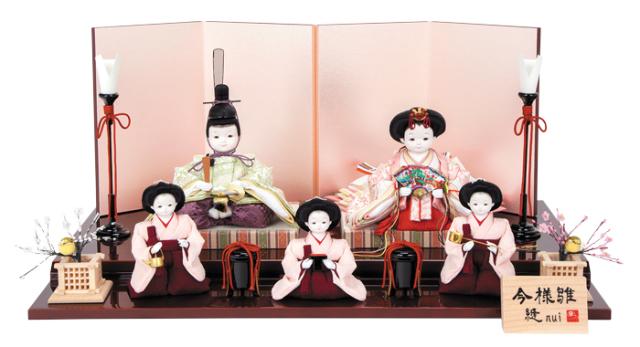 雛人形 今様雛 縫nui /衣裳着5人飾りH 正絹上仕様(お顔:ゆめ)