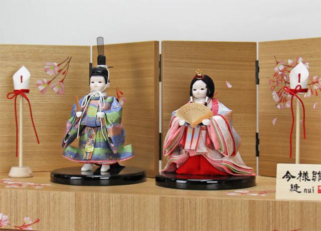 雛人形 今様雛 縫nui /立雛親王収納箱飾り 正絹束帯U(お顔 れい)