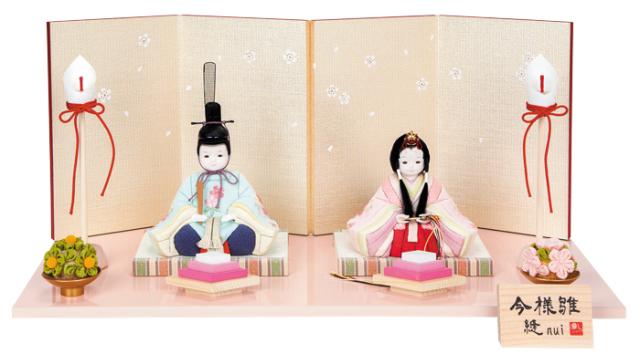 雛人形 今様雛 縫nui /木目込み親王飾り 刺繍M(お顔 ゆめ)
