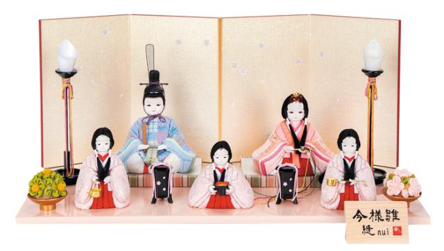 雛人形 今様雛 縫nui /木目込み親王官女5人飾り 雅M5(お顔 れい)