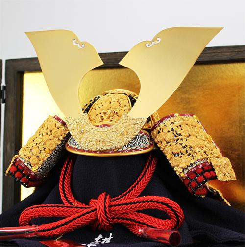 雄山作 国宝模写12号菊金物之兜平飾りセット