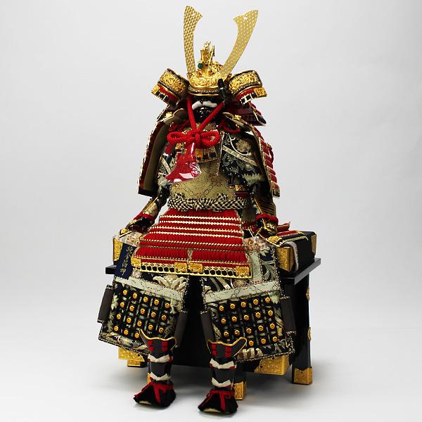 平安道齋作 8号純金箔押総裏白檀之鎧飾り/赤糸威