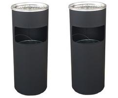 【2個セット】ゴミ箱付き灰皿 丸型 A-085B ●ブラック● 灰皿 業務用ゴミ箱 屋外灰皿 スタンド灰皿 屋外用灰皿 業務用 分煙 公共施設 ホテル レストラン ショッピングセンター