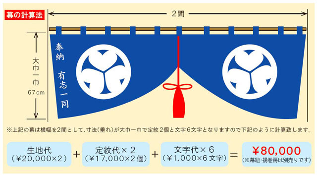 「東レ」シルック縮緬幕(防炎加工)ヤール二巾(175cm)1間につき生地染代