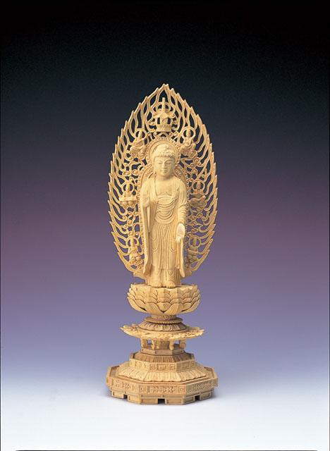 木製仏像 舟立阿弥陀如来立像(本つげ製)
