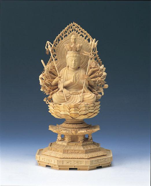 木製仏像 千手観音菩薩(本つげ製)