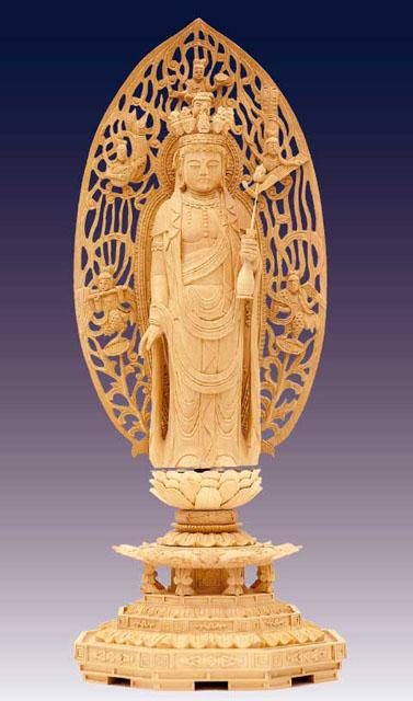 木製仏像 舟立十一面観音立像(本つげ製)