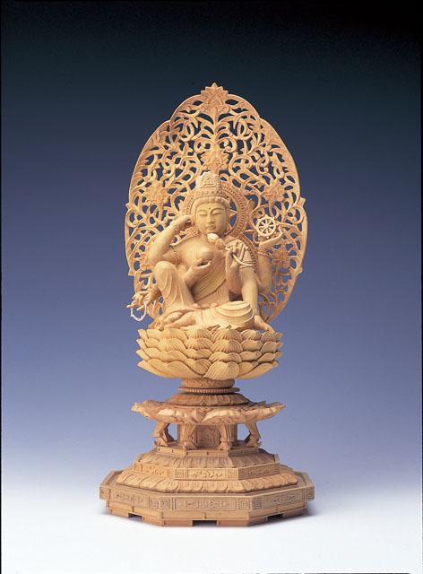 木製仏像 如意輪観音菩薩(本つげ製)