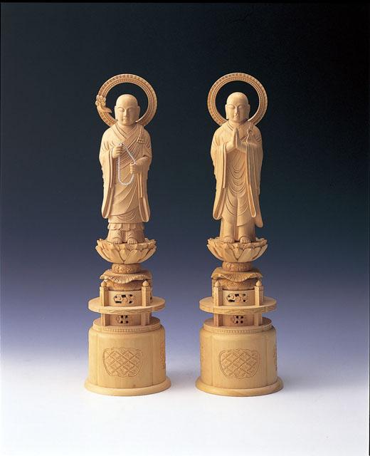 木製仏像 法然上人・善導大師(2体1組)本つげ製