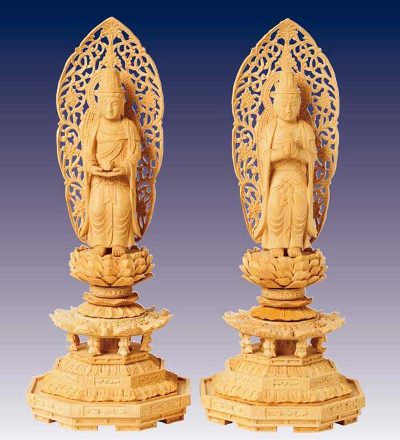 木製仏像 観音・勢至菩薩(2体1組)本つげ製